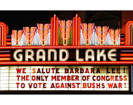 WE SALUTE BARBARA LEE! THE ONLY MEMBER OF CONGRESS TO VOTE AGAINS BUSHÕS WAR!