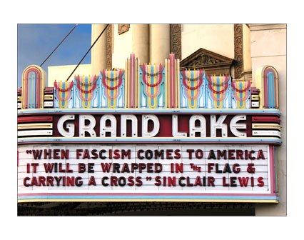 ÒWHEN FASCISM COMES TO AMERICA IT WILL BE WRAPPED IN THE FLAG & CARRYING A CROSSÓ SINCLAIR LEWIS